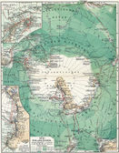 """South Pole. Map of the continent, oceans and seas, islands and the land around it. Publication of the book """"Meyers Konversations-Lexikon"""", Volume 7, Leipzig, Germany — Stock Photo"""