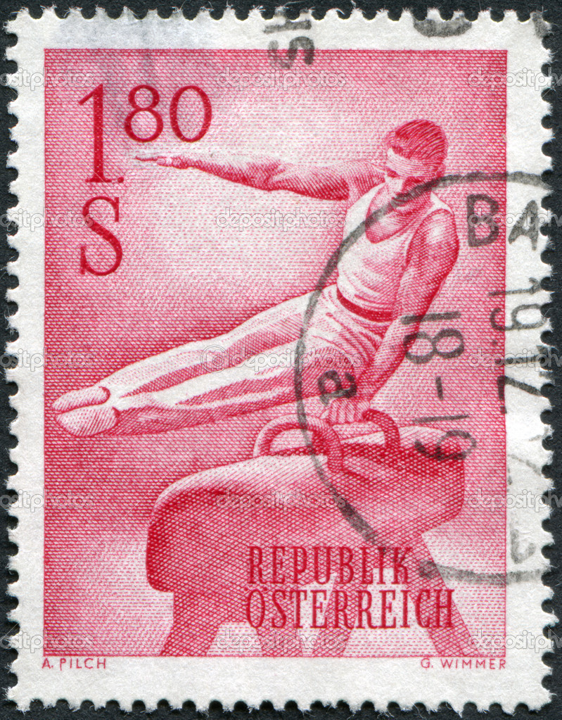 AUSTRIA - CIRCA 1962: A stamp printed in Austria, shows a gymnast on Pommel horse, circa 1962 — Stock Photo #12086425