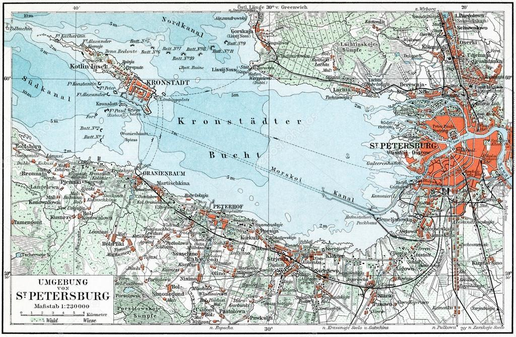 GERMANY - CIRCA 1910: Map of St. Petersburg and the surrounding area, Kronstadt and the Gulf of Finland. Publication of the book Meyers Konversations-Lexikon, Volu  Stock Photo #12086835