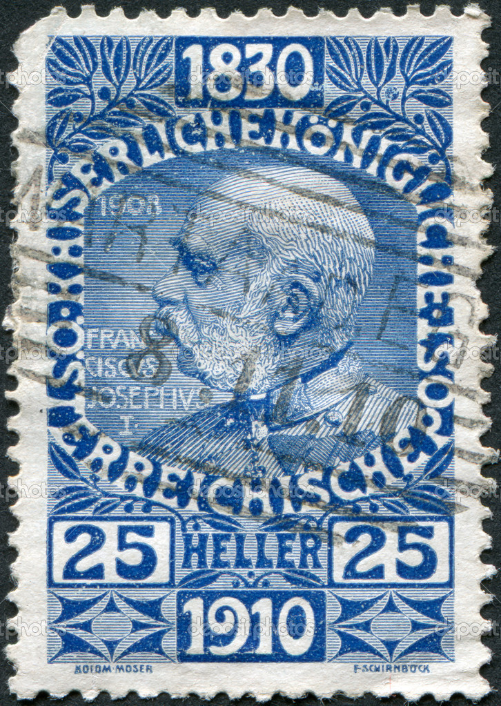 AUSTRIA - CIRCA 1910: A stamp printed in Austria, is dedicated to his 80th birthday Franz Joseph I, circa 1910 — Stock Photo #12087006