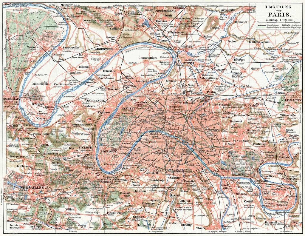 Map of Paris and the suburbs Publication of the book Meyers – Map of Paris and Suburbs