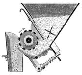 """Detail of the seed drill """"Saxonia"""". Publication of the book """"Meyers Konversations-Lexikon"""", Volume 7, Leipzig, Germany, 1910 — Stock Vector"""