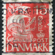 Stock Photo: Stamp printed in Denmark, depicts caravel, circ1927