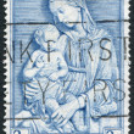 A stamp printed in the Ireland, shows Madonna by della Robbia, circa 1954 — Stock Photo