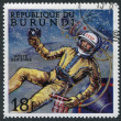 Royalty-Free Stock Photo: A stamp printed in the Burundi, devoted to the first exit into space, circa 1968