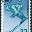 A stamp printed in the Bulgaria, devoted to the XIII Winter Olympic Games, Lake Placid, Slalom, circa 1980 — Stock Photo