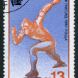 Stamp printed in Bulgaria, devoted to XIII Winter Olympic Games, Lake Placid, Skating, circ1980 — Stock Photo #12161928