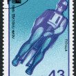 A stamp printed in the Bulgaria, devoted to the XIII Winter Olympic Games, Lake Placid, Bob, circa 1980 — Stock Photo