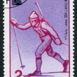 Stamp printed in Bulgaria, devoted to XIII Winter Olympic Games, Lake Placid, skiing, circ1980 — Stock Photo #12161930