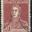 Stamp printed in Argentina, shows national hero, Jose de SMartin, circ1924 — Stock Photo #12161941