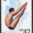 Royalty-Free Stock Photo: A stamp printed in the Bulgaria, devoted to the European championship in water sports, diving, circa 1985