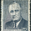 A stamp printed in the Argentina, dedicated to the anniversary of the death of U.S. President Flanklin Delano Roosevelt, circa 1946 - Stock Photo