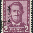 A stamp printed in the Argentina, shows Esteban Echeverria (overprint Servicio Oficial), circa 1957 - Stock Photo