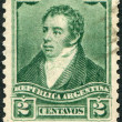 A stamp printed in the Argentina, depicts the first president of Argentina, Bernardino Rivadavia, circa 1892 — Stock Photo