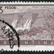 A stamp printed in the Argentina, depicts Nihuil Dam, circa 1956 — Stock Photo