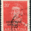 Stock Photo: Stamp printed in Argentina, shows national hero, Jose de SMartin (overprint 1957), circ1955