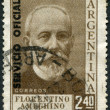 Stock Photo: Stamp printed in Argentina, shows Florentino Ameghino (overprint Servicio Oficial 1957), circ1956