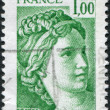 A stamp printed in France, depicts Sabine, fragment, by Jacques-Louis David, circa 1977 — Stock Photo
