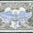 Stock Photo: Stamp printed in Belgium, shows railway stamp, overprint Winged Wheel, circ1902