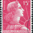 Royalty-Free Stock Photo: A stamp printed in France, depicts Marianne is a national emblem of France, circa 1955