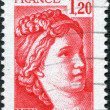������, ������: A stamp printed in France depicts Sabine fragment by Jacques Louis David circa 1977