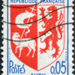 A stamp printed in France, depicts Arms of Auch, circa 1966 — Stock Photo