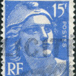 A stamp printed in France, depicts Marianne is a national emblem of France, circa 1951 — Stock Photo