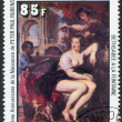 "A stamp printed in the Republic of Upper Volta, is shown painting Rubens ""Bathsheba at the Fountain"", circa 1977 — Stock Photo"
