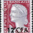 Stock Photo: Stamp printed in France (overprint for Reunion), depicts Marianne is national emblem of France, circ1961