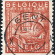 A stamp printed in Belgium, shows the lace-maker at work, circa 1948 — Stock Photo