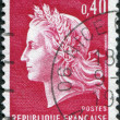 A stamp printed in France, depicts Marianne (by Cheffer) is a national emblem of France, circa 1969 - Stock Photo