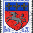 A stamp printed in France, depicts Arms of Saint-Lo, circa 1966 - Stock Photo