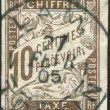 Stock Photo: Stamp printed in France (for use in colonies), shows face value of port marks, circ1883