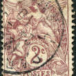 Stamp printed in France, shows allegory of Liberty, Equality, Fraternity, circ1900 — Stock Photo #12162363