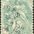 A stamp printed in France, shows an allegory of Liberty, Equality, Fraternity, circa 1900 — Stock Photo