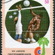 A stamp printed in Cuba, is devoted to Central American and Caribbean games, volleyball, circa 1982 — Stock Photo