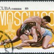 A stamp printed in Cuba, is dedicated to the Olympic Games in Moscow, shows the Greco-Roman wrestling, circa 1979 - Stock Photo