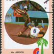 A stamp printed in Cuba, is devoted to Central American and Caribbean Games, baseball, circa 1982 - Stock Photo