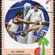 A stamp printed in Cuba, is devoted to Central American and Caribbean Games, boxer, circa 1982 — Stock Photo