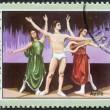 "A stamp printed in Cuba, dedicated to the International Ballet Festival, shows a scene from the ballet ""Apollo"", circa 1976 — ストック写真"