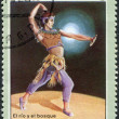 "A stamp printed in Cuba, dedicated to the International Ballet Festival, shows a scene from the ballet ""The river and the forest"", circa 1976 — Stockfoto"