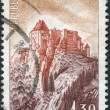 Royalty-Free Stock Photo: A stamp printed in France, shows the Fort de Joux, circa 1965