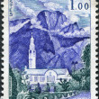 A stamp printed in France, shows Cilaos Church, Reunion, circa 1960 — Stock Photo
