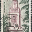 A stamp printed in France, shows the Great Mosque of Tlemcen, circa 1960 — Stock Photo