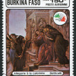 A stamp printed in the Burkina Faso, is dedicated to International Philatelic Exhibition, Italy-85, shows a picture of Botticelli — Photo