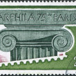 A stamp printed in France, is dedicated to Arphila-75 International Stamp Exhibition, shows the Ionic Capital, circa 1975 — Stock Photo