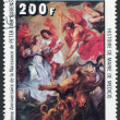 "A stamp printed in the Republic of Upper Volta, shows a painted picture of Rubens ""The history of Maria de Medici"", circa 1977 — Stock Photo"