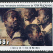"A stamp printed in the Republic of Upper Volta, shows a painted picture of Rubens ""Four Studies of the Head of a Negro"", circa - Stock Photo"