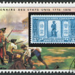 A stamp printed in the Republic of Upper Volta, is devoted to 200 anniversary of Independence of USA, circa 1975 — Stock Photo