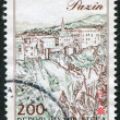 Postage stamps printed in Croatia, shows views of the city of Pazin, circa 1993 — Stock Photo